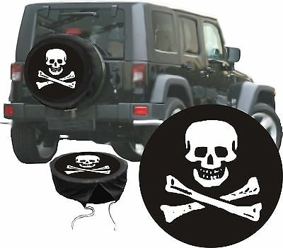 Skull Pirate Jolly Roger Skull Motif Car Jeep Premium Spare Wheel Case Cover