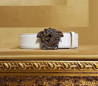 New Versace Optic White Leather 3D Medusa Belt 85/34
