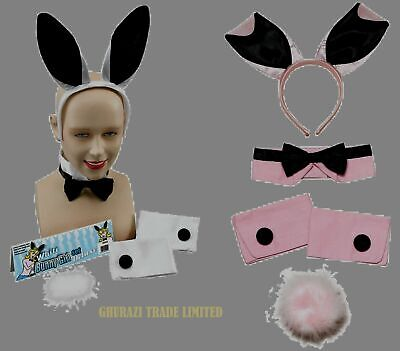 BUNNY GIRL RABBIT WHITE AND PINK EARS HEN PARTY SET FANCY DRESS - White Rabbit Girl Kostüm