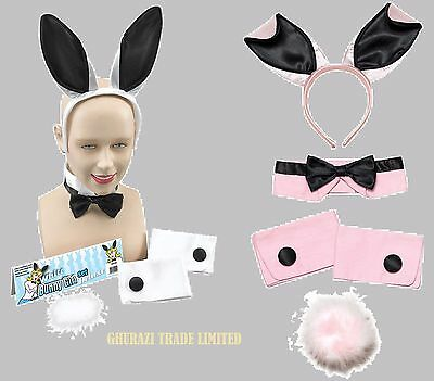 BUNNY GIRL RABBIT WHITE AND PINK EARS HEN PARTY SET FANCY DRESS (Pink Bunny Girl Kostüm)