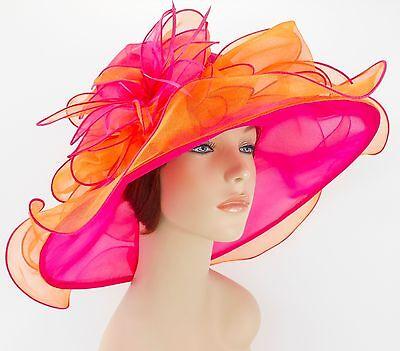 New Church Kentucky Derby Wedding Organza Wave Dress Hat 2867 Hot Pink / Orange