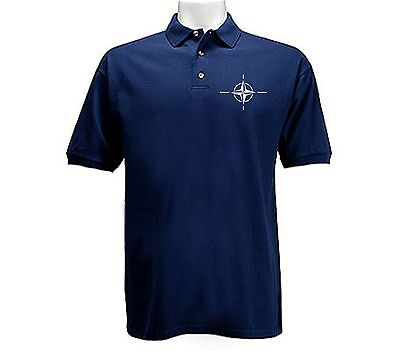 Nato North Atlantic Intergovernmental Military Alliance Polo Style Navy T Shirt