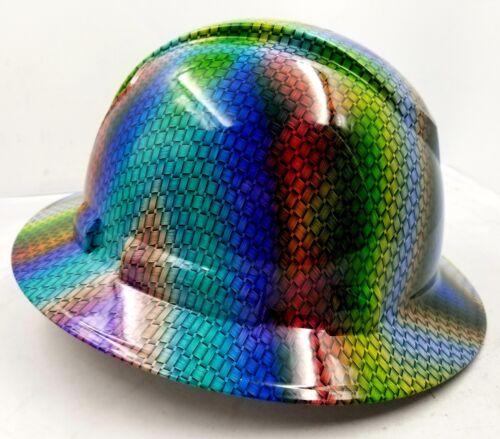 FULL BRIM Hard Hat custom hydro dipped MULTI COLOR BASKET WEAVE CARBON FIBER NEW 1