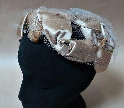 1950s Hats: Pillbox, Fascinator, Wedding, Sun Hats VINTAGE 1950s SATIN & NET HAT VERY STYLISH $36.94 AT vintagedancer.com