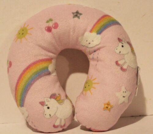 Neck Roll Travel Pillow Toddler Neck Support Pink Unicorn Rainbow Plush