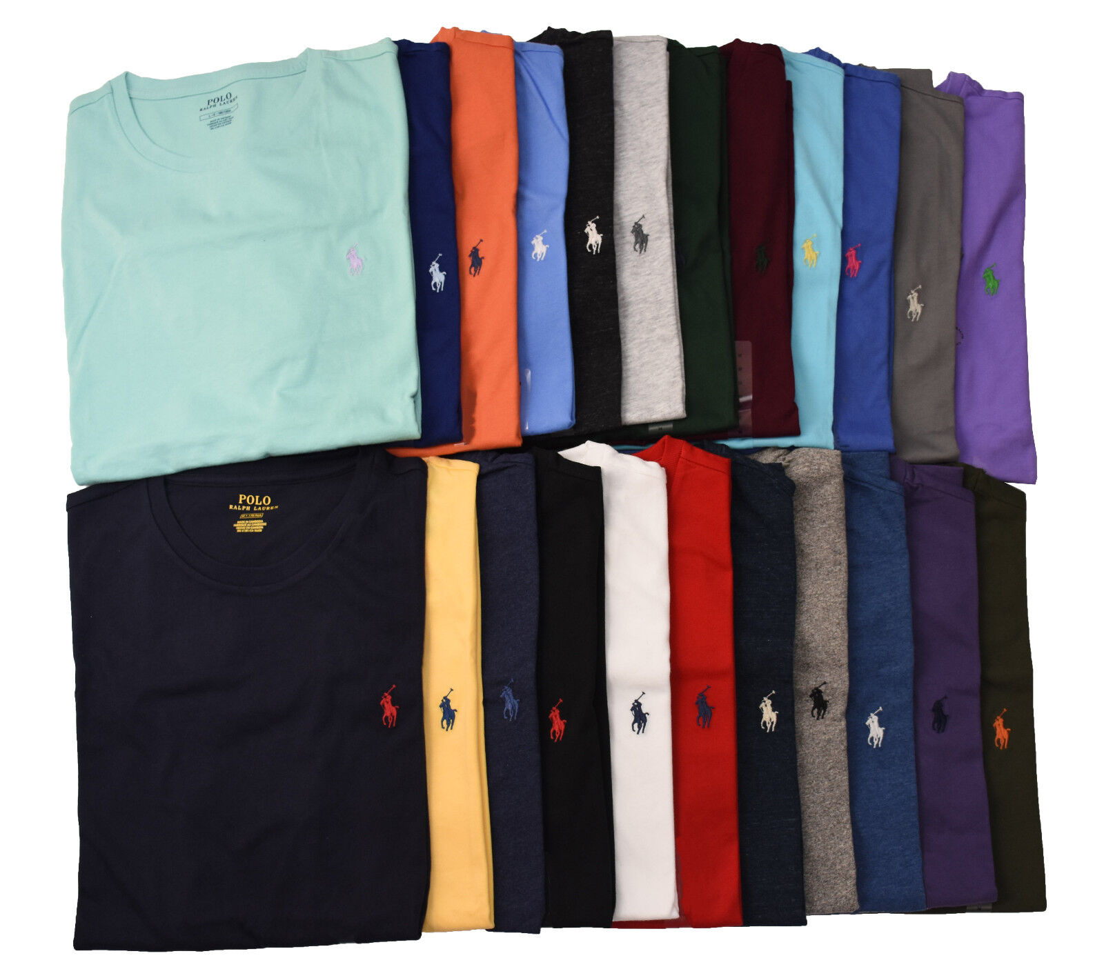 Small NWT-Mens Ralph Lauren Polo Vee Neck Charter Green Classic Fit T Shirt SZ