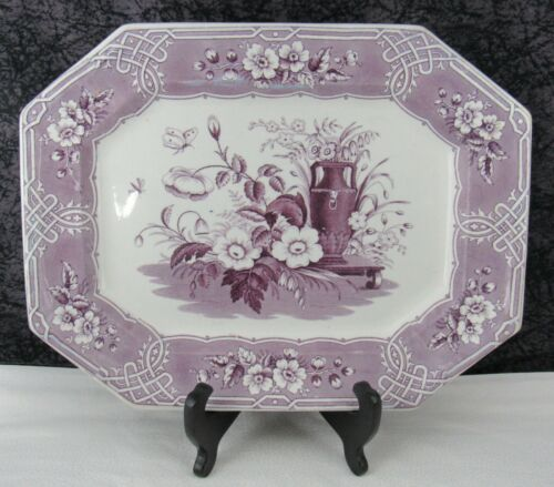 Antique Staffordshire Indian Floral Purple Transferware Ironstone Platter