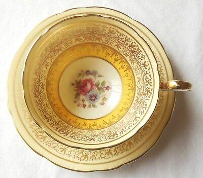Vintage Aynsley England Bone China Yellow Yolk Gold Floral Cup & Saucer 1939 Mar