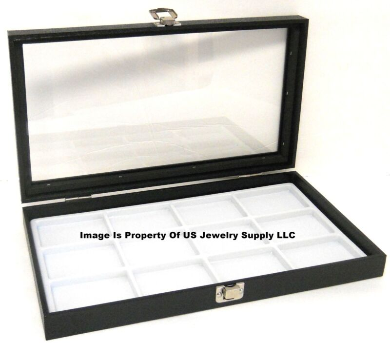 1 Glass Top Lid White 12 Space Collectors Jewelry Display Box Case