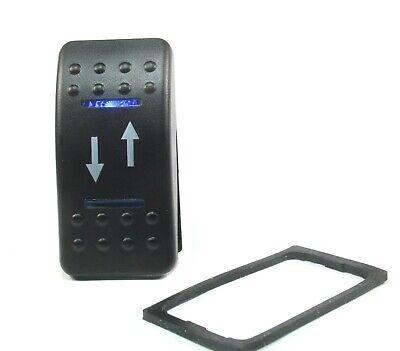 1pc Momentary Rocker Switch Dpdt 20a 12vdc Lighted Blue Lens Updown Arrow 7 Pin