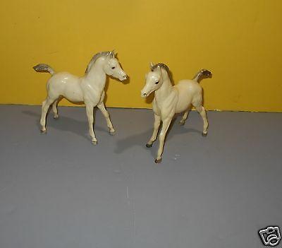 "Breyer White Arabian Foal 6.5"" Tall Gray Mane Horse Animal Figure Pair of 2"