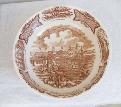 Vintage Alfred Meakin Fair Winds Serving Bowl Staffordshire England Brown Cream