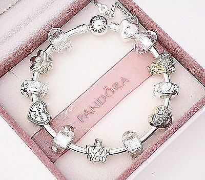 Authentic Pandora Silver Bangle Bracelet with Wife Love European Charms