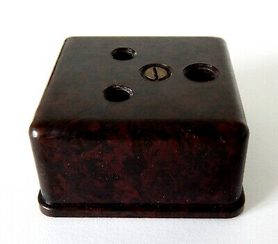 Vintage Bakelite 5 Amp Three Round Pin Socket Mottled Brown Electrical Salvage