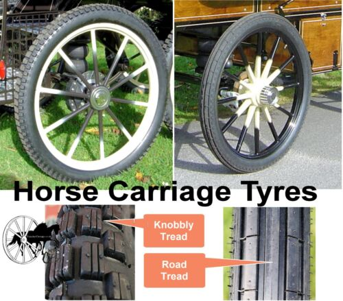 Horse Carriage Tyre Tire for Cart Gig Pneumatic Wheels Many Sizes