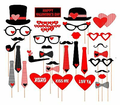 33PCS Photo Booth Party Props Mustache on a Stick Valentines Day Hearts Top Hats