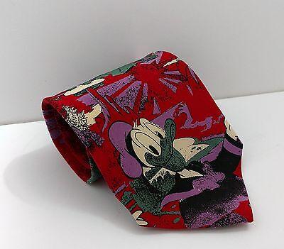 Disney Tie Rack 100% Pure Silk Men's Red Tie Daisy, Donald Duck Made in Italy