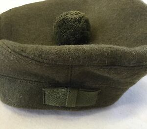 Scottish-Tam-O-Shanter-Hat-Army-Military-Khaki-Green-Bonnet-Scotland-Cap