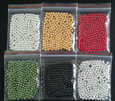 200 Wachsperlen 4 mm verschiedene Farben zur Auswahl (Dekoperlen)