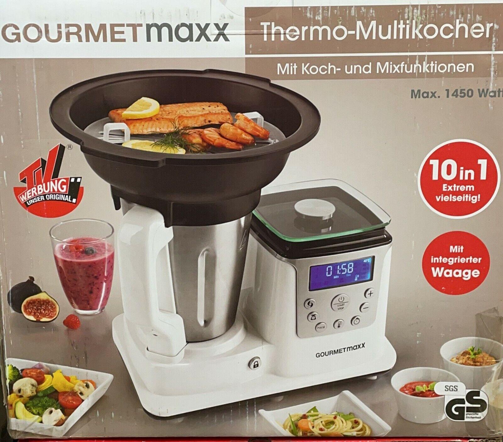Thermo Multikocher Premium 1450W Kochen Mixen Küchenmaschine 10 in1