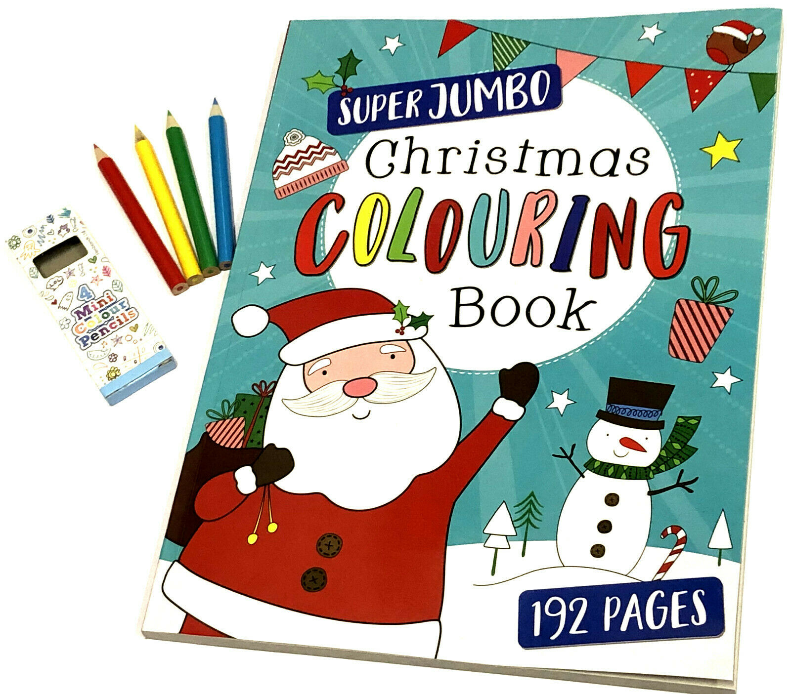 JUMBO CHRISTMAS COLOURING BOOK & PENCIL XMAS EVE BOX STOCKING FILLER A4 192 PAGE | eBay