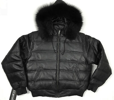 WOMENS REAL LEATHER BUBBLE JACKET PUFFER STYLE BLACK (S M L XL 2XL 3XL) BOMBER