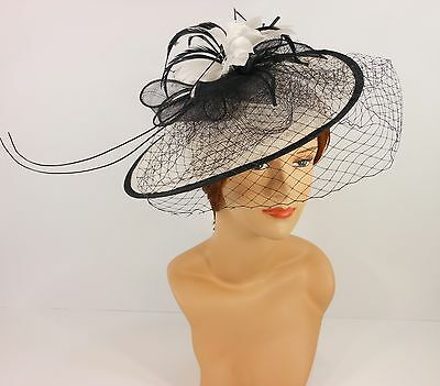 New Church Derby Cocktail Sinamay Fascinator Hat w veil headband 3624 Off White