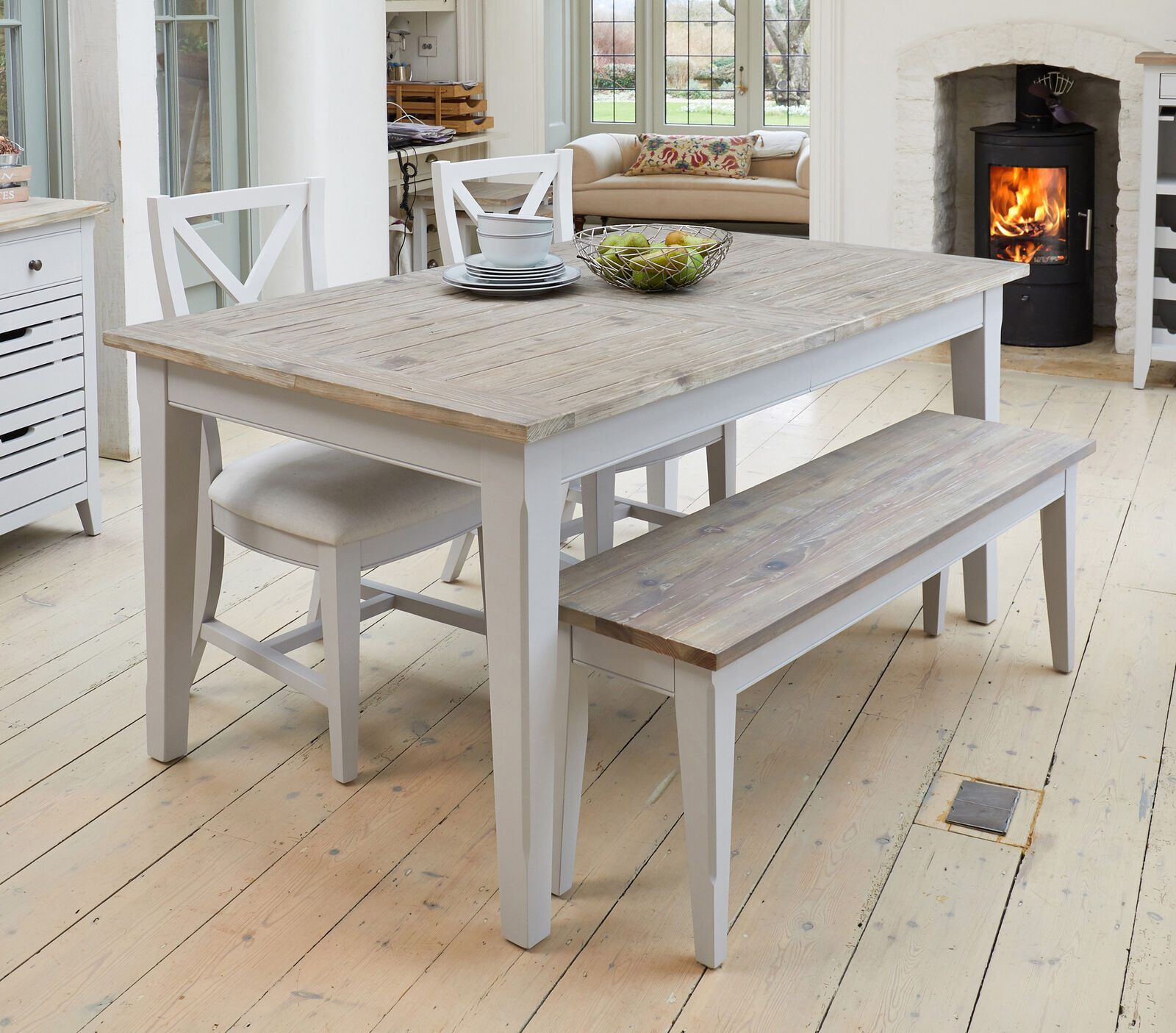 Exceptionnel Signature Painted Grey Limed Oak Top Large Extendable Rectangle Dining Table