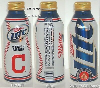 2012 CLEVELAND INDIAN MLB OH BASEBALL SPORT MILLER LITE ALUMINUM BOTTLE-BEER CAN