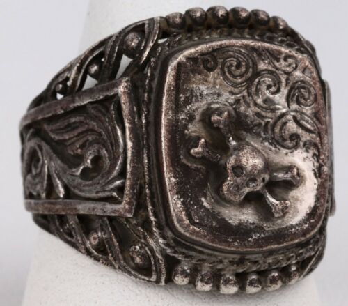 Skull Bones RING Sterling SILVER 925 SPECIAL Force SHOCK Troops After WWII ww2