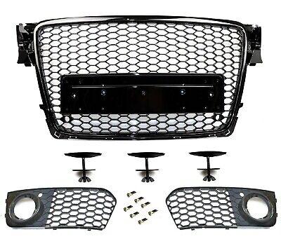 Parrilla de Panal Negro Alto Brillo Apto para Audi A4 B8 08-12...