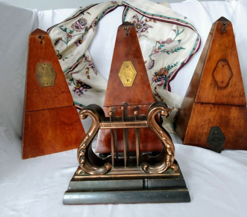 VINTAGE ANTIQUE Package of 3 Metronomes  and a music holder. 1 Seth Thomas