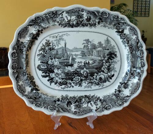 Antique American Historical Staffordshire Transferware Platter Clews Virginia