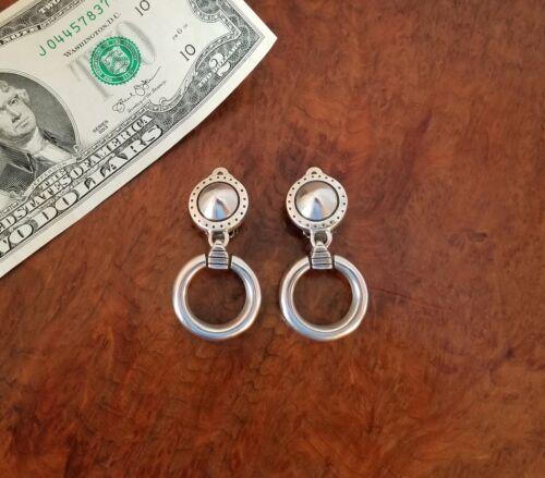90s LISA JENKS Modernist Sterling Silver Door Knocker Earrings-Clip Back