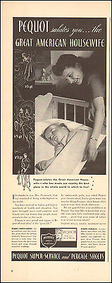 1941 Vintage ad for Pequot Sheets Baby Crib Art  Photo  072417