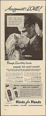 1945 Vintage ad for Hinds for Hands Lotion Art Couple Photo  (122816)