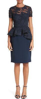 New Reem Acra Lace   Double Georgette Peplum Dress  Size 4  3 250