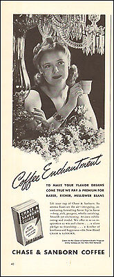 Vintage ad for Chase & Sanborn Coffee Cup Flowers retro Box photo  072417