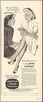 1942 Vintage ad for Bauer & Black Elastic Stockings`Art WWII era Sexy Legs