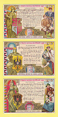 LIEBIG  -  RARE SET OF 6 CARDS - S  593  /  F  595 -  NATIONAL ANTHEMS II - 1899