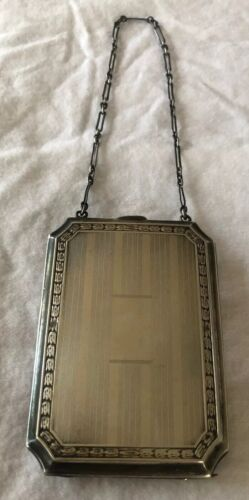 Antique STERLING SILVER Money Holder Coins Card Cigarette Case PURSE W/Chain 87G - $76.00