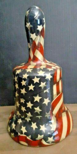 """Large America Flag Porcelain Bell 7 1/2"""" tall"""