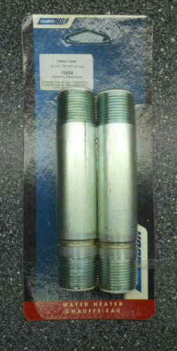 """LOT OF 2 CAMCO USA 10634 3/4""""NPT x 5""""LONG DIELECTRIC NIPPLES FOR WATER HEATERS"""