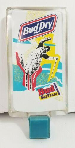 Bud Dry Draft Beer Ski Team Tap Handle RARE Budweiser Skiing Vintage