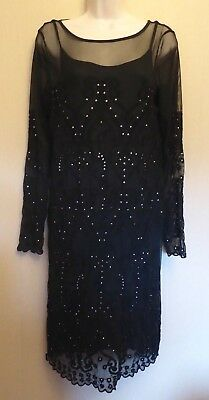 Per Una UK10 EU38 US6 BNWT black stretch mesh/lace long-sleeved 2-piece dress