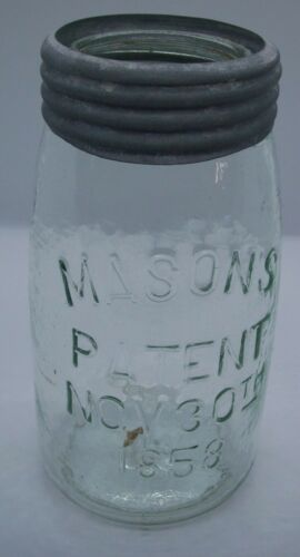 Whittle Marks Mason's Patent Nov 30th 1858 Qt. Jar Ground lip Green Zinc Band