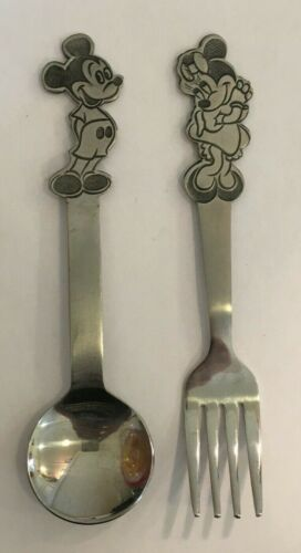 Original Vintage Mickey Mouse and Minnie Mouse Toddler Silverware / Mickey Mouse