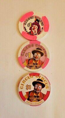 Lot of 3 different Circus Circus $1 Clown Casino Chips Las Vegas NV Nevada