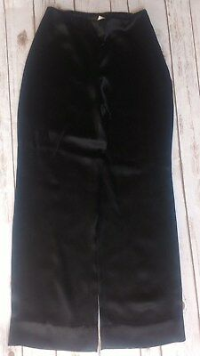 Versace Women Black Satin Pants wide leg zipper on the side 48/8 Vintage