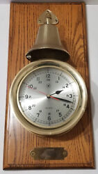 Bey Berk Brass Striking Porthole Nautical Clock with Bell on SOLID WOOD